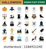 halloween flat icon set  eps10... | Shutterstock .eps vector #1186921240