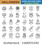 halloween outline icon set ... | Shutterstock .eps vector #1186921243