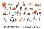 crowd of tiny people gathering... | Shutterstock .eps vector #1186921720