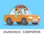 happy family in the orange car. ... | Shutterstock .eps vector #1186928536