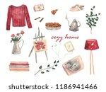 cozy home. cozy watercolor set... | Shutterstock . vector #1186941466