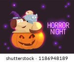 horror night neon sign vector.... | Shutterstock .eps vector #1186948189