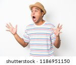 young asian man with hat feels...   Shutterstock . vector #1186951150
