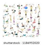 big set of people doing... | Shutterstock .eps vector #1186952020