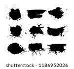 set of black round ink splashes ... | Shutterstock .eps vector #1186952026
