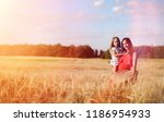 young girl in a wheat field.... | Shutterstock . vector #1186954933