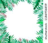frame. tropical leaves. | Shutterstock . vector #1186956859