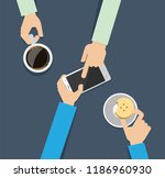 hands using cell phone. flat... | Shutterstock .eps vector #1186960930