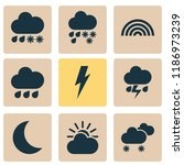 climate icons set with rainbow  ... | Shutterstock .eps vector #1186973239