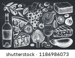 vector menu design with italian ... | Shutterstock .eps vector #1186986073