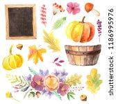 set of watercolor orange... | Shutterstock . vector #1186995976