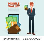 businessman presenting digital... | Shutterstock .eps vector #1187000929