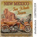 vintage route 66 new mexico...   Shutterstock . vector #1187001559