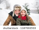 grandfather and small girl in... | Shutterstock . vector #1187003533