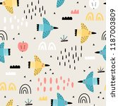 baby seamless pattern with... | Shutterstock .eps vector #1187003809