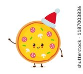 happy smiling funny cute pizza... | Shutterstock .eps vector #1187003836