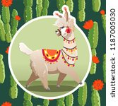 illustration with llama and...   Shutterstock .eps vector #1187005030