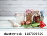 naturally fermented foods in... | Shutterstock . vector #1187009920