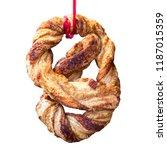 freshly baked pretzel suspended ... | Shutterstock . vector #1187015359