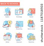 back to school icons  thin line ...   Shutterstock .eps vector #1187018503