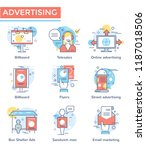 advertising concept icons  thin ...   Shutterstock .eps vector #1187018506