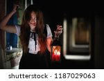 a young girl from a horror film ... | Shutterstock . vector #1187029063