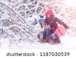winter fairy tale  a young... | Shutterstock . vector #1187030539