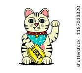 lucky cat maneki neko japanese... | Shutterstock .eps vector #1187033320