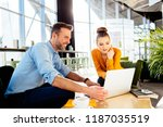 creative workers discussing... | Shutterstock . vector #1187035519