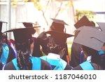 shot of graduation hats during... | Shutterstock . vector #1187046010