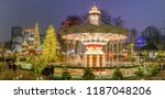 the carousel and christmas... | Shutterstock . vector #1187048206