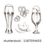 snack food and foamy beer in... | Shutterstock .eps vector #1187054653