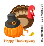 happy thanksgiving day poster... | Shutterstock .eps vector #1187056339