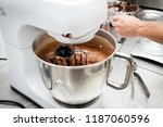 melted chocolate on an... | Shutterstock . vector #1187060596