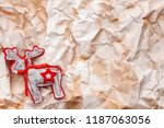 a felt reindeer with a red... | Shutterstock . vector #1187063056