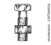 bolt and screwed nut engraving... | Shutterstock .eps vector #1187064016