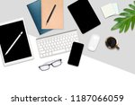 flat lay photo of office table... | Shutterstock . vector #1187066059