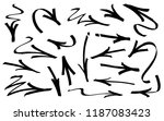 set of graffiti arrows drawn by ... | Shutterstock .eps vector #1187083423