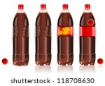 Detailed illustration of a Four plastic bottles of cola with labels