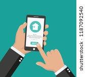 man using smart phone controls...   Shutterstock .eps vector #1187092540