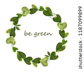 wreath from green leaves | Shutterstock . vector #1187099899