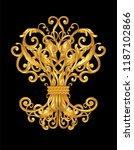 gold ornament on black | Shutterstock .eps vector #1187102866
