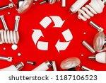 old used metal lithium alkaline ... | Shutterstock . vector #1187106523