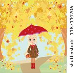 beautiful girl with umbrella | Shutterstock . vector #1187114206