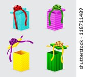 four open gift boxes with... | Shutterstock .eps vector #118711489