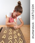 woman baking christmas cookies - stock photo