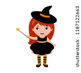 adorable little witch.... | Shutterstock .eps vector #1187122663