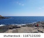 blue ocean with a man on the... | Shutterstock . vector #1187123200