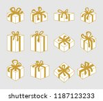 set of 3d christmas boxes.... | Shutterstock .eps vector #1187123233