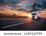 truck with container on highway ... | Shutterstock . vector #1187124799